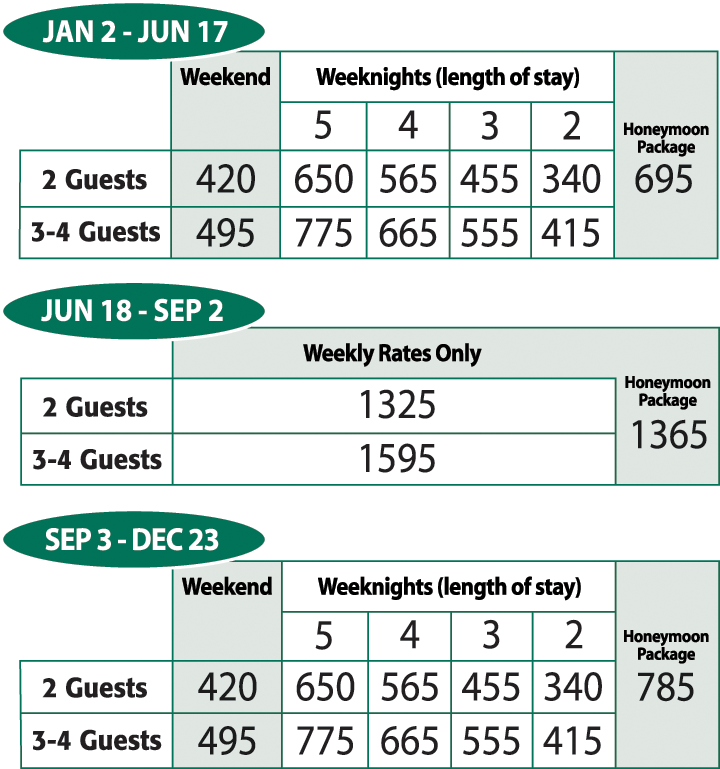 Pinewood Lodge Resort Rates
